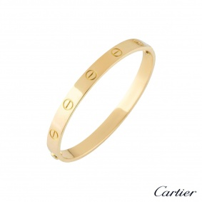Cartier Yellow Gold Plain Love Bracelet Size 17 B6035517